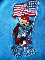 VTG QUIZZ AGAIN SZ M L DENIM PATRIOTIC USA FLAG BEARS SKATING SHIRT BLOUSE WOMEN