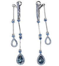 London Blue Topaz Gemstone Front Back Leverback Sterling Silver Earrings