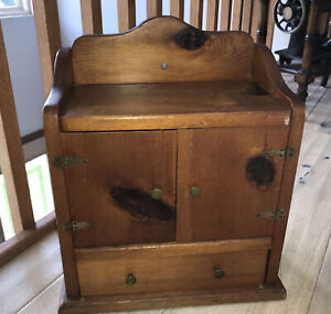Antique Pine Wood Small Spice Cabinet Hanging / Table Top Brass Hardware