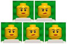 Lego HEADS dual sided # pack of 5 # girl princess woman female lips #1761