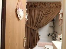 Custom Hand Made Dark Brown Shower w/ built in Valance & a Window Curtain too!