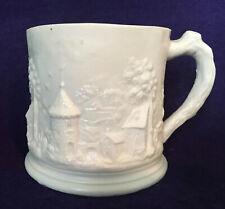 Antique 19th c. European Porcelain Parian Ware Mug German or French Lithophane