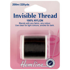 HEMLINE NYLON INVISIBLE THREAD 200M /220 YARDS CLEAR SMOKE CRAFTING SEWING BNEW