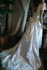 Michaelangelo beaded white satin bridal wedding dress size 10