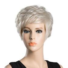 10 Pouces Perruque Femme Naturel Court Blonde Ondulée en Vrais Cheveux