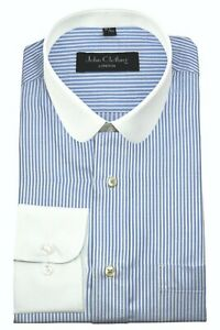 Men's Round Penny collar Peaky Blinders Blue & White Pin stripes Shelby shirt