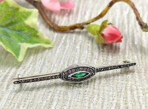 Antique 900 Silver Marquise Green Paste Bar Brooch Tie Pin, Art Deco