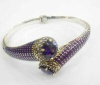 925 Sterling Silver Handmade Authentic Turkish Amethyst Bracelet Bangle