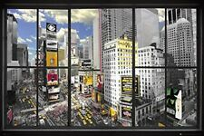 """New York Poster - Window To Times Square 36 x 24"""" NYC City scape view art print"""