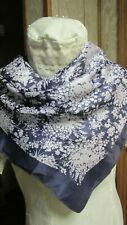 Navy Blue With White Floral Center - Vintage Scarf