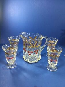 Mosser Glass, Cherry & Cable Thumbprint 24K Gold Trimed Pitcher and 4-Tumblers