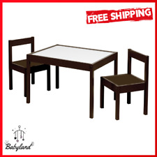 Kids Table Chair Set 3 Pc Dry Erase Top Solid Wood Espresso Finish Easy Assemble