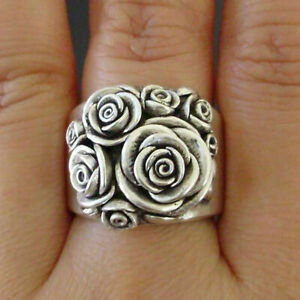 Boho 925 Sterling Silver New Women Fashion Vintage Style Rose Flower Ring Size 9