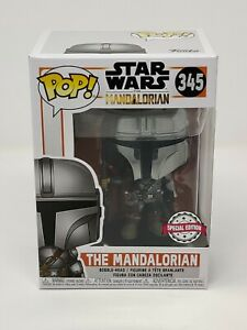 FUNKO MANDALORIAN CHROME #345 STAR WARS AMAZON SPECIAL EDITION MINT w/Protector