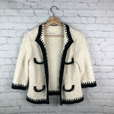 CAbi 297 Cardigan Sweater Cream Black Open Front Warm Cozy Soft Small Women's