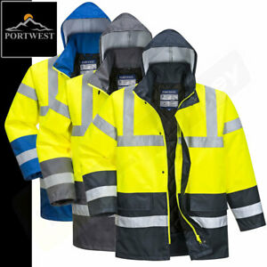 Portwest Hi Vis Waterproof Jacket - Hi Viz Lined Traffic Yellow Safety Coat S466
