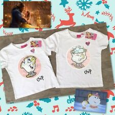 7-8 Primark Beauty & The Beast Chip Cup 2Way Brush Reverse Sequin T-shirt Top