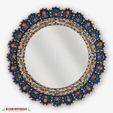 """Decorative Cuzcaja Round Mirror 17.7""""- Reverse Painted glass Hanging Wall mirror"""