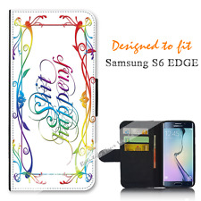 For Samsung Galaxy S6 EDGE Wallet Flip Phone Case Cover S H I T Happens Y00891