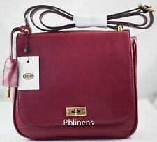 FOSSIL Memoir Flap Crossbody Shoulder Bag Handbag Burgandy with Fossil Key New