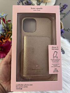 NIB Kate Spade Metallic Saffiano + Cardholder iPhone 12 PRO Max $80 Great Gift