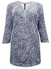 Ivans INP Shop Blue White Paisley Plus Size 16 18 20 22/24 Zip Front Tunic Top 20