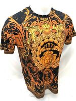 Mens PRESTIGIOUS SHORT Sleeve Shirt BLACK ORANGE MEDUSA HEAD SILKY DIAMOND 107