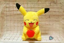 "2016 TOMY Pokemon Large Hungry Smiling Pikachu with Apple 11"" Plush Toy POKEMAN"