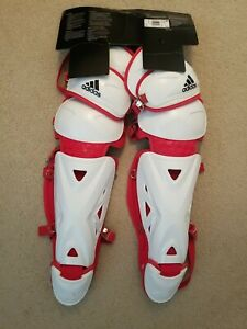 "🔥$140 NEW Adidas Baseball Pro Series Catcher's Leg Guards 2.0 White Red 15.5"""