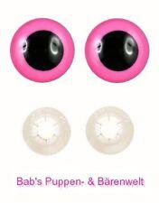 2 Paar Sicherheitsaugen pink 12 mm mit Kunststoff-Sicherheitsscheibe
