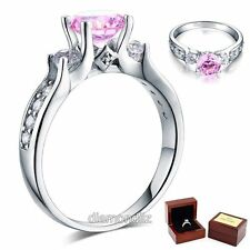 Carat Fancy Pink Lab Created Diamond 925 Sterling Silver Engagement Ring 1.25