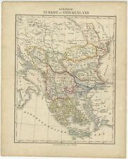 Antique Map of Turkey and Greece by Petri (c.1873)