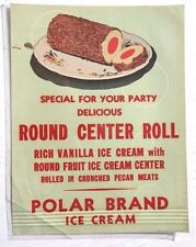 Vtg Round Center Roll Ice Cream Polar Advertising Sign / Poster / Lithograph