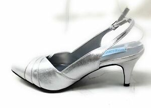 Dyeables Womens Poppy Slingback Pump Heel Shoes Silver Shimmer Size 8.5 M US