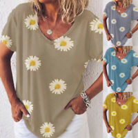 Womens Casual Holiday Shirt Tee Ladies Basic Blouse Daisy Loose Summer Tops