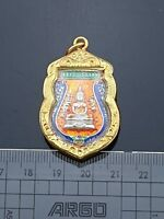 Blue Orange Thai Buddha LP Sothorn Jewelry Antiques Pendant Luck Success Amulets