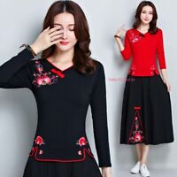Womens Chinese Embroidery Cotton Long Sleeve T-shirt Stretchy Floral Tops Slim