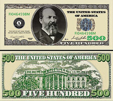$500 Poker Play Money Dollar Bill ~ Garfield ~ Fake Funny Money Novelty Note