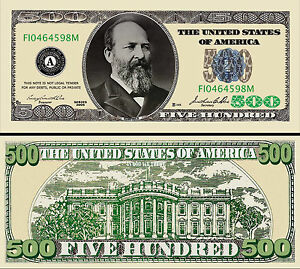 $500 Poker Play Money Dollar Bill  Funny Money Novelty Note + FREE SLEEVE