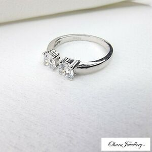 925 Solid Sterling Silver Cubic Zirconia Wedding Torque Resizable Ring Jewellery