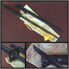 HANDMADE JAPANESE SAMURAI NINJA SWORD DAMASCUS BLACK FOLDED STEEL SHARP BLADE