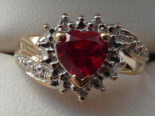 108M Ladies 9ct gold 1/2carat solitaire heart cut Ruby & Diamond ring size J1/2