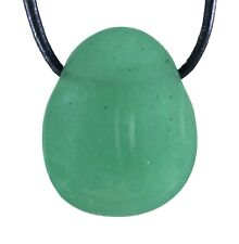 Green Aventurine Pendant With Leather Strap Drop Tumbled Stone Drilled GEMSTONE