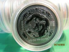 2000 AUSTRALIAN LUNAR YEAR OF THE DRAGON  1/2 oz.  SILVER COIN BU SERIES 1