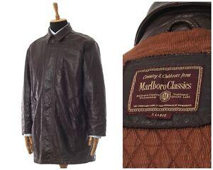 Mens MARLBORO Classics Leather Coat Jacket Brown Size XL