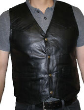 Men's Motorcycle Black Italian Stone Design Genuine Leather Vest Handcrafted