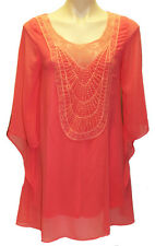 New PRIVVY Women Size 8 Chiffon Tunic  Party Formal Evening Blouse Tops Orange