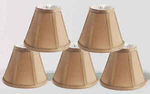 """Urbanest Empire Chandelier Lamp Shade in Silk,Set of 5,Soft Bell 3x 6""""x 5"""" Taupe"""