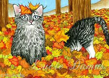 ACEO art print Cat 441 fall autumn from original painting by L.Dumas