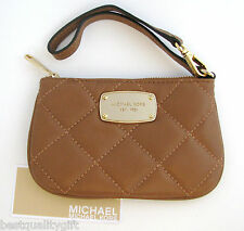 MICHAEL KORS HAMILTON QUILT LUGGAGE/BROWN LEATHER WRISTLET,CLUTCH,WALLET-NEW